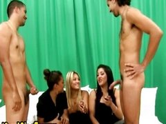 Cfnm femdom ladies judging and giving handjob
