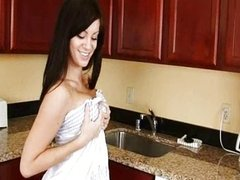 blackhair in the kitchen with huge toy