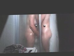 cougar Janine and toyboy spied in the shower