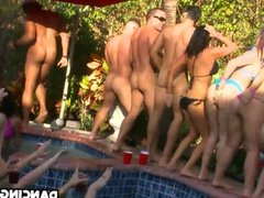Outdoor pool party girls wanting cock