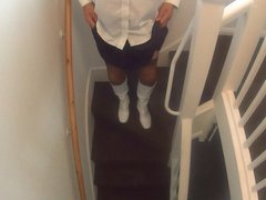 Boots Stockings  Suspenders Pleated Skort