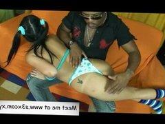 Hot Latina teen playng with big dick