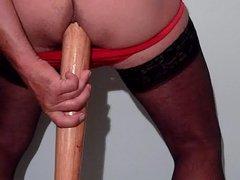 Baseball in ass