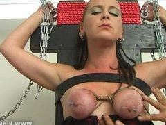 Christine gets her nipples punished