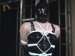 Hooded Bondage Babe In LIngerie Tied To Post