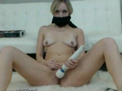 Ball gagged blonde masturbates on cam