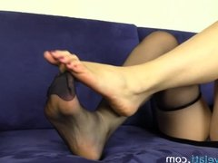 Black Nylon Pantyhose Feet