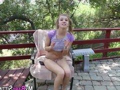 Teen sucks cock outdoors
