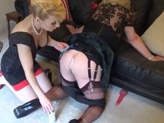 Madame C shaves slut Angelica's ass