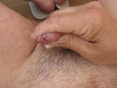 Outdoor huge load of sperm in white flip-flop 001