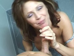 White whore with big nipples gets her face fucked with guys big cock