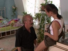 Older man younger woman oral exchange