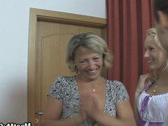Old mom seduces his new gf into home sex