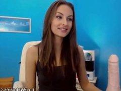 Skinny brunette masturbates on webcam