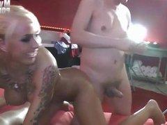 German GangBang Party - Blond tattoo teen get