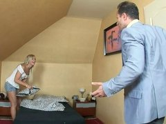 Older guy wants to fuck a hot blonde teen on her bed