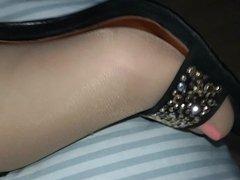tan stockings + designer sandals + tease