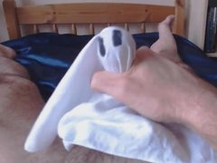 Halloween jerkoff with cock wrapped in a spooky handkerchief