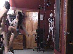 Ballbusting cowgirl destroys slave
