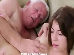 Beautiful girl fucked hard by old man