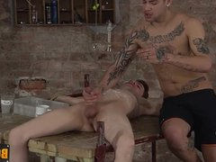Bound Kit gets hot and cold blowjob from horny Mickey