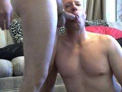 Gay sissy Mike Karacson gives blowjob oral