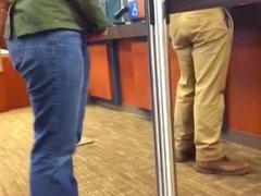 CUTE TIGHT ASS AT THE BANK