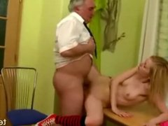Horny Old Teacher Fucks Student