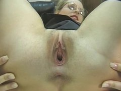 Blonde wants you to look on her tight snatch