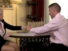 Stunning British blonde notary in stockings needs his cock