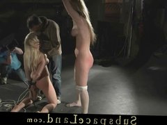 Dominator spank and wax hard poor damsels in live bdsm