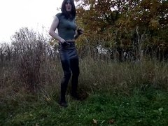 Sandralein33 Smoking Emo Girl in Miniskirt and Lackleggins
