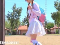 Skinny white redhead teen touching herself at the park on TEENCAMSTER