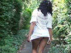 Ebony babe From SEXDATEMILF.COM Mels teasing public flashing and outdoor