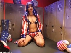 Champion Dani plays with herself in the locker room