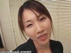 Asian secretary gives POV blowjob and gets fucked