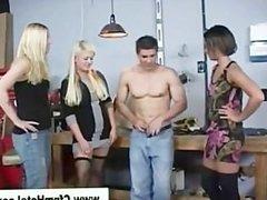 Femdom cfnm girls in the garage