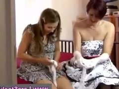Brunette and mature lady eat each others pussys