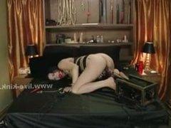 Brunette slutty works for money on webcam in bondage solo show ru