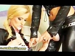 Real lesbian babes get cumshower in gloryhole from plastic cocks