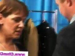 Cfnm seamstress gives handjob