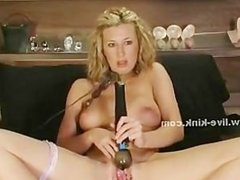 Skinny blonde playing solo in front of the cam with bondage toys