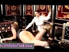 Bad girl gets spanked with leather strap