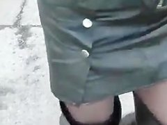 see me walking in leather skirt,thigh boots