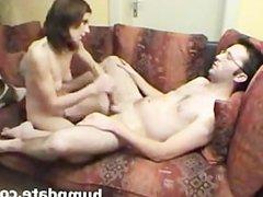 Naked GF gives good handjob and ball massage