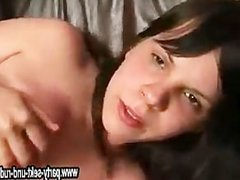 drunken black-haired girl fucks with two men at the party