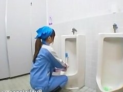 Asian maintenance lady cleans wrong part6