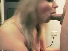 Chubby blonde got chocked and had a facial