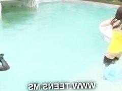 Lesbian teens in the pool