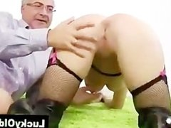Older guy jizzes blondel in stockings and boots